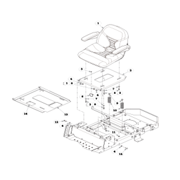 Parts lookup for HUSTLER RAPTOR 934679EX - Seat - with Armrests - S/N 15110000 and higher