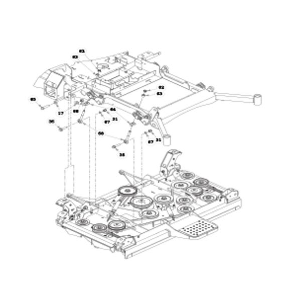 Parts lookup for HUSTLER SUPER 104 931733 - Deck Mounting Hardware - S/N prior to 15096976 (0781)