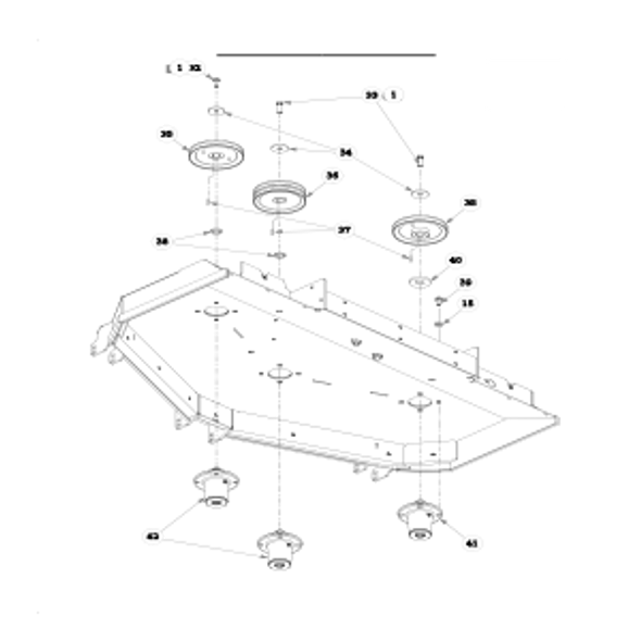 "Parts lookup for HUSTLER SUPER Z 934232 - 60"" Rear Discharge Deck Pulleys and Spindles (1774)"