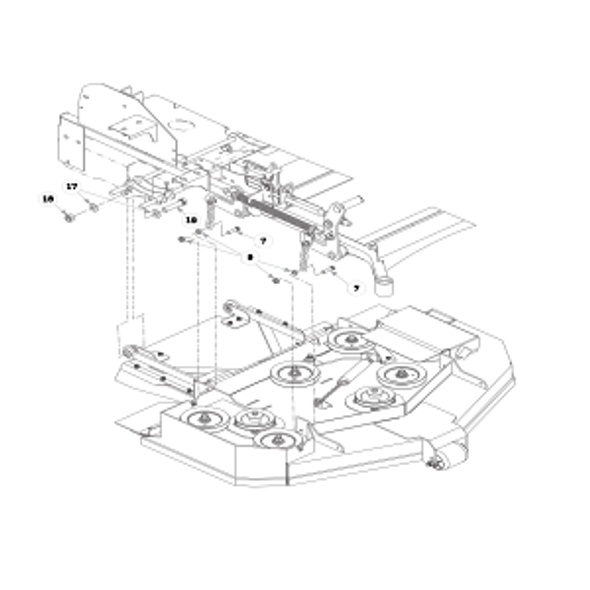 Parts lookup for HUSTLER X-ONE 932798 - Rear Discharge Deck Mounting Hardware