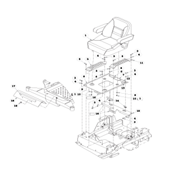 Parts lookup for HUSTLER FASTRAK 936054 - Seat and Footrest
