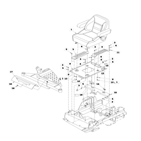 Parts lookup for HUSTLER FASTRAK SDX 936138 - Seat