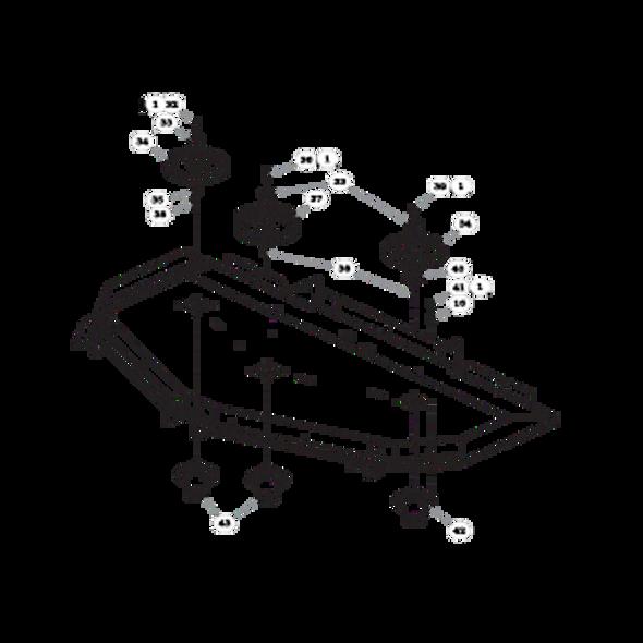 "Parts lookup for HUSTLER SUPER Z 935064 - 72"" Rear Discharge Deck Pulleys and Spindles (2162)"