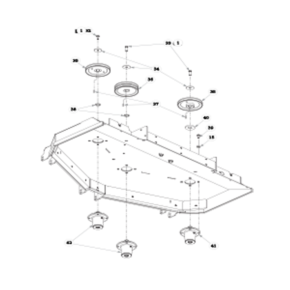 "Parts lookup for HUSTLER SUPER Z 938118EX - 60"" Rear Discharge Deck Pulleys and Spindles (2842)"