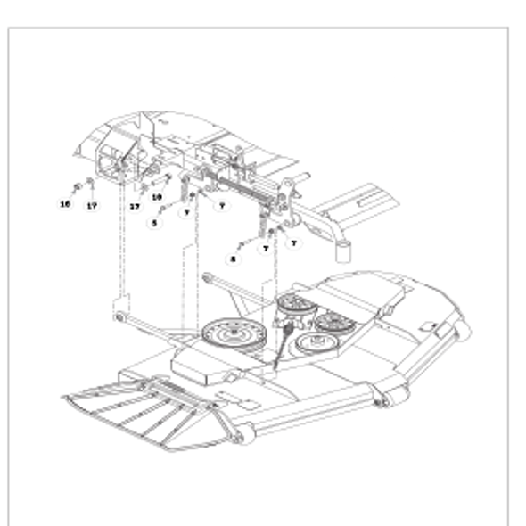 Parts lookup for HUSTLER SUPER Z HD 934950 - Deck Mounting Hardware