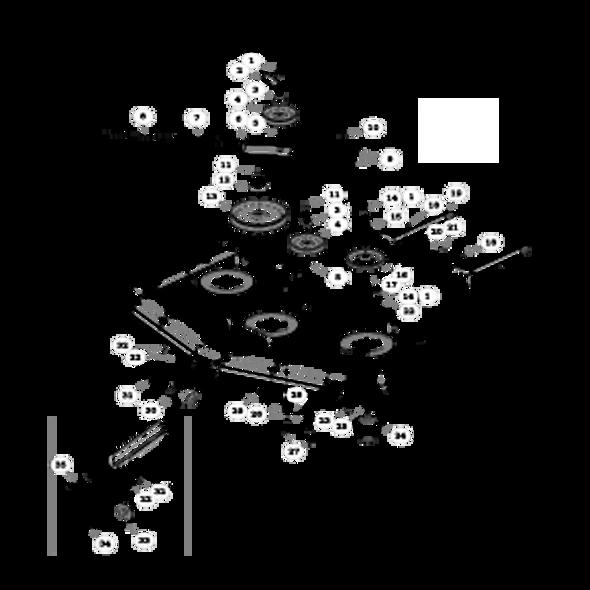 Parts lookup for HUSTLER SUPER Z 936989 - Side Discharge Deck Pulleys and Spindles (2674)