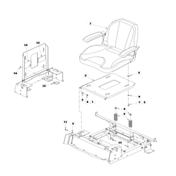 Parts lookup for HUSTLER RAPTOR 937755 - Seat with Armrests Two-Tone