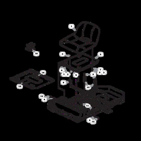 Parts lookup for HUSTLER RAPTOR 937813 - Seat - without Armrests