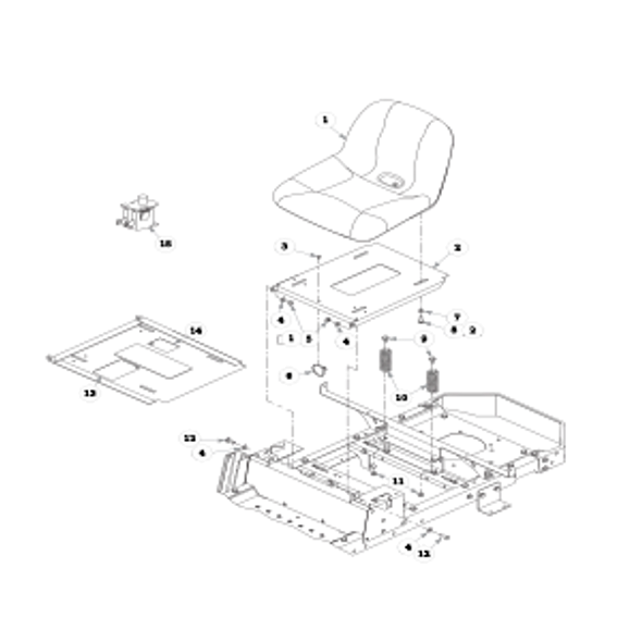 Parts lookup for HUSTLER RAPTOR 938167 - Seat - without Armrests