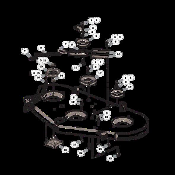 """Parts lookup for HUSTLER RAPTOR 938282EX - 52"""" Deck Pulleys and Spindles"""