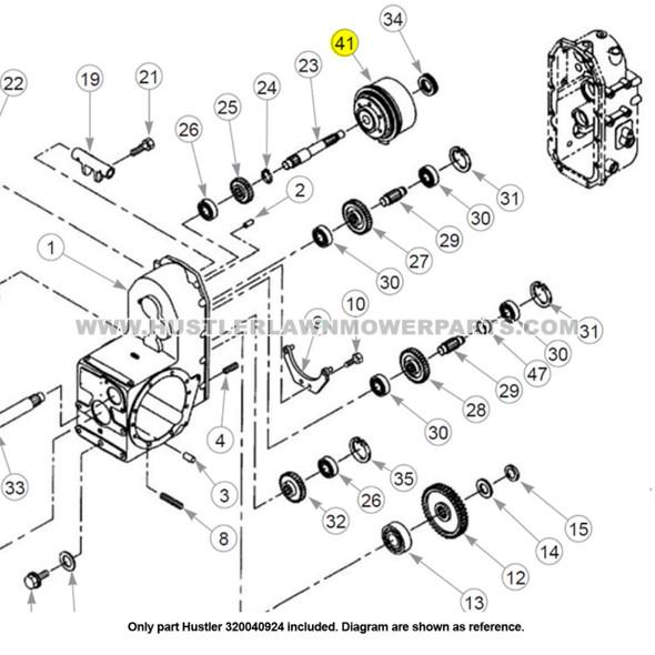 Parts lookup Hustler 320040924 PTO Clutch Assembly OEM diagram