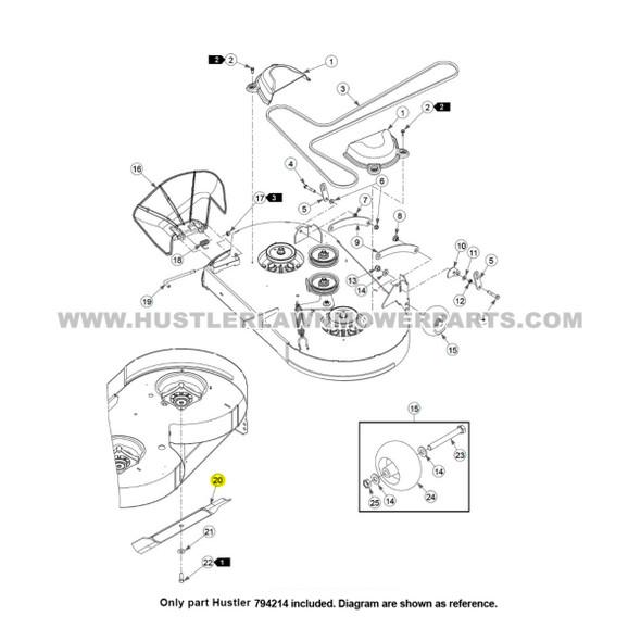 "Parts lookup Hustler Raptor 42"" Blades 794214 OEM diagram"