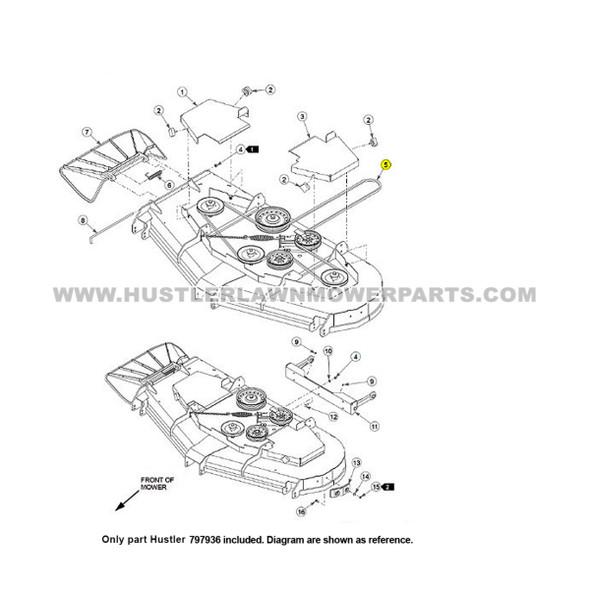 """Parts lookup Hustler 66"""" Drive Belt 797936 OEM diagram"""
