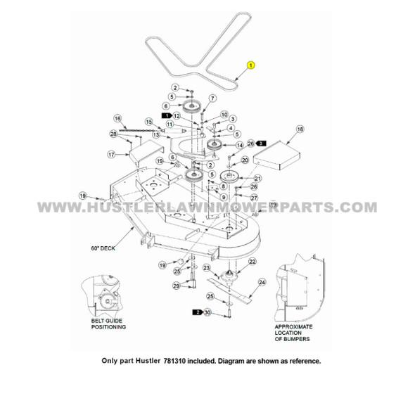 "Parts lookup Huster 60"" Drive Belt 781310 OEM diagram"