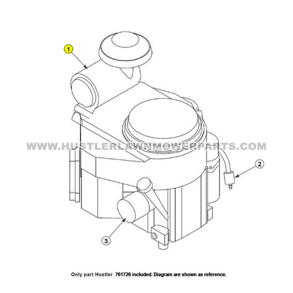 Parts lookup Hustler 761726 Lawn Mower Air Filter OEM diagram
