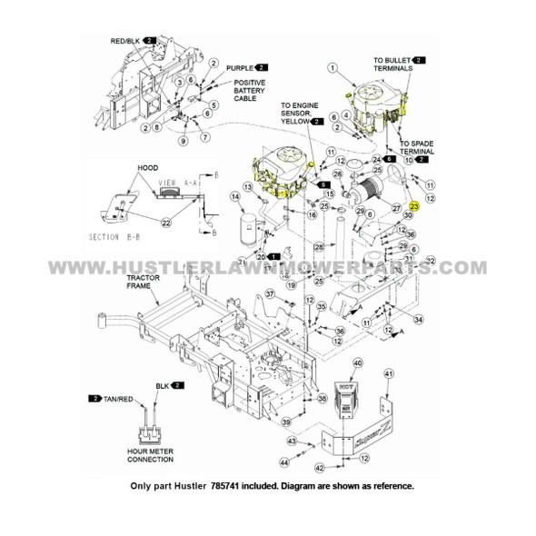 Parts lookup Hustler 785741 Air Cleaner Mounting Band OEM diagram
