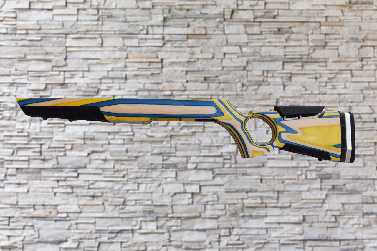 Boyds At-One Thumbhole Yellow, Blue, Natural Stock Ruger 10/22, T/CR22 Bull Barrel Rifle