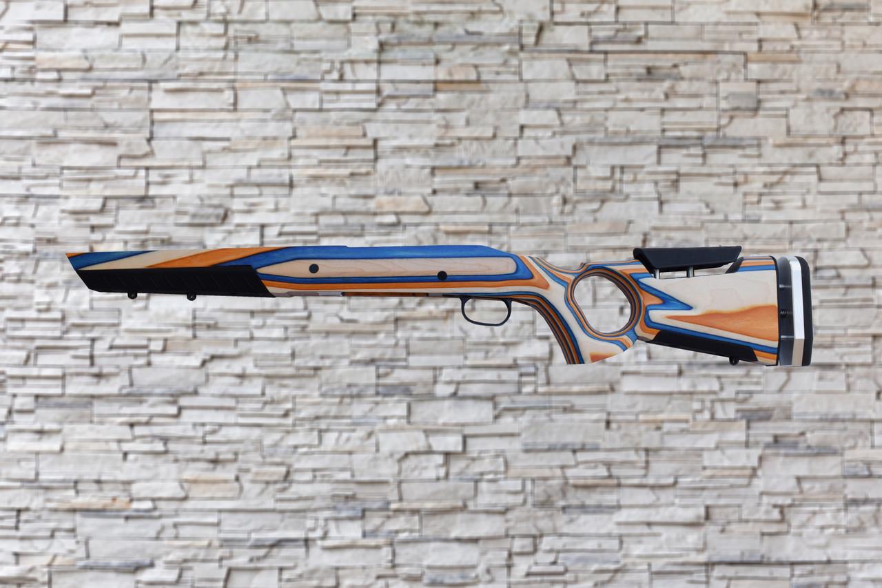 Boyds At-One Thumbhole Orange, Blue, Natural Stock Savage AXIS SA Tapered Barrel Rifle