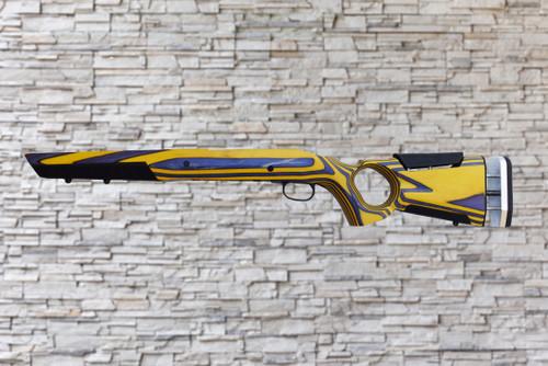 Boyds At-One Thumbhole Purple, Yellow Stock Savage AXIS SA Bull Barrel Rifle