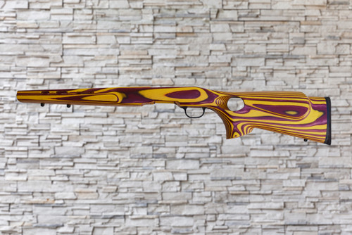 Boyds Featherweight Maroon, Yellow Wood Stock for Savage B-Mag Bull Barrel Rifles