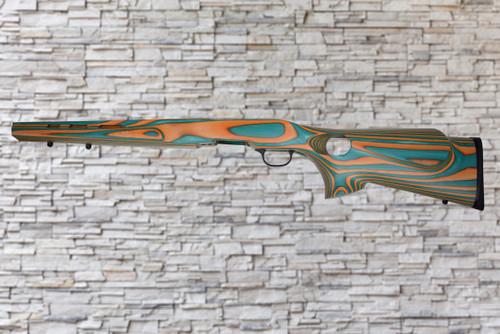 Boyds Featherweight Teal, Orange Stock Savage B-Mag 17WSM Bull Barrel Rifle