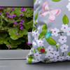 Water Resistant Garden Cushion - Cherry Blossom Grey