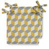 Water Resistant Garden Seat Pads - Cube Mustard