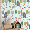 Children's Animal Wallpaper - Woodland Friends Blue