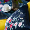 Opulent Velvet Cushion - Rose Garden Navy