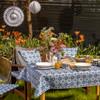 Outdoor Garden Tablecloth AVAILABLE IN 5 SIZES - Optional Centre Hole for Parasol - Casablanca Navy