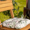 Cushioned Chair Seat Pad, Buttoned with Rear Ties - Welsh Meadow