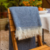 Luxurious 100% Wool Herringbone Blanket - Denim Blue