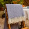 Luxurious 100% Wool Herringbone Blanket - Lilac