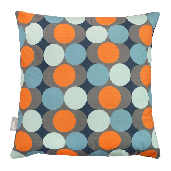 Opulent Velvet Cushion - Dot Drops Orange