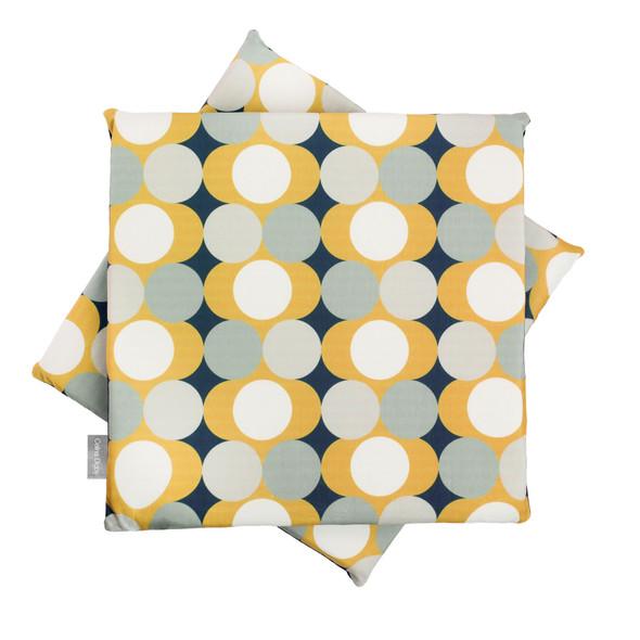 Velvet Seat Pads - Dot Drops Mustard