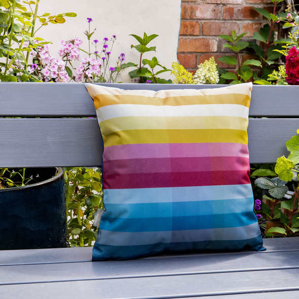 Water Resistant Garden Cushion - Pixel Stripes