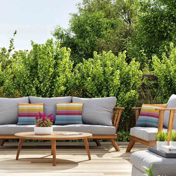 Water Resistant Garden Cushion - Pixel Stripes
