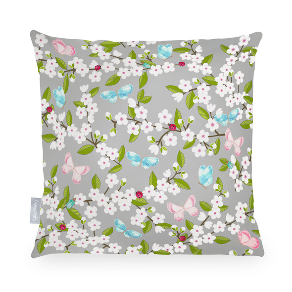 Water Resistant Garden Cushion - Cherry Blossom Grey