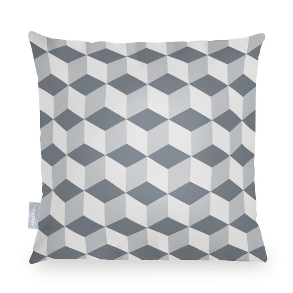 Water Resistant Garden Cushion - Cube Grey