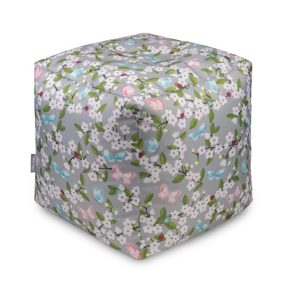 Water Resistant Garden Cube Pouffe - Cherry Blossom Grey