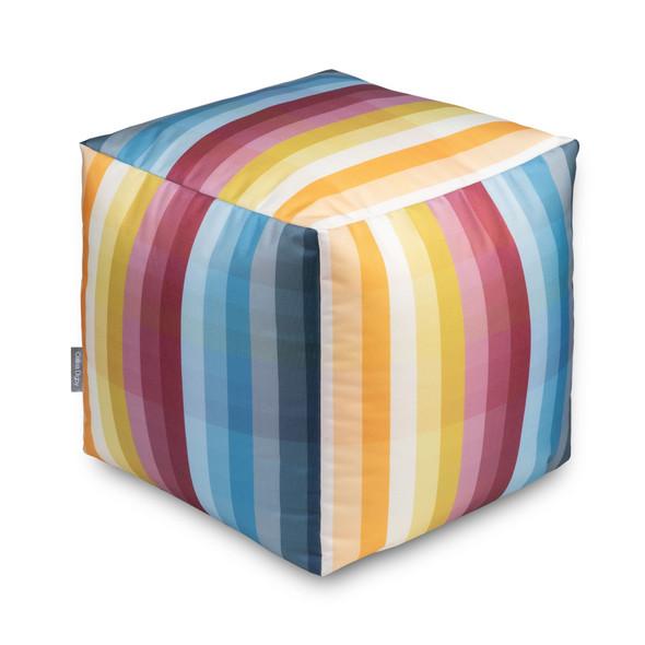 Water Resistant Garden Cube Pouffe - Pixel Stripes