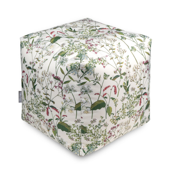 Water Resistant Garden Cube Pouffe - Welsh Meadow Cream