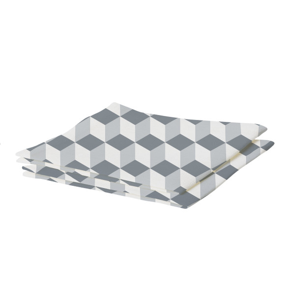 Waterproof Table Runner - Cube Grey