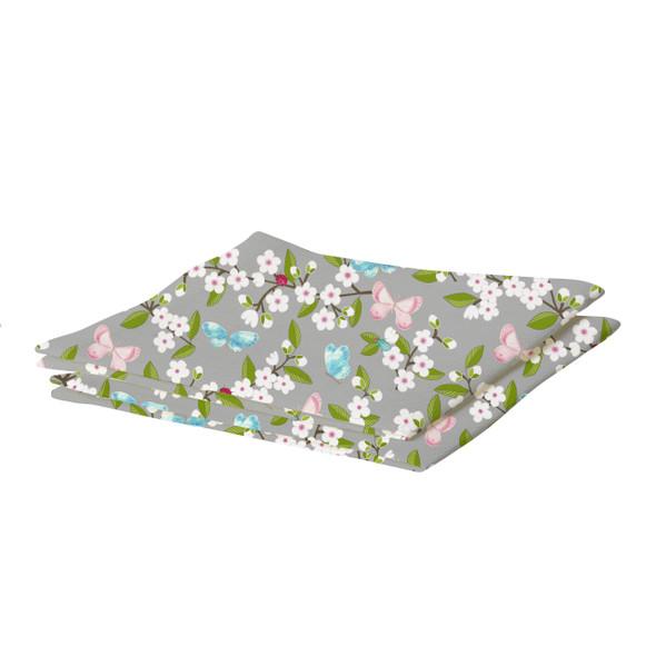 Waterproof Table Runner - Cherry Blossom Grey
