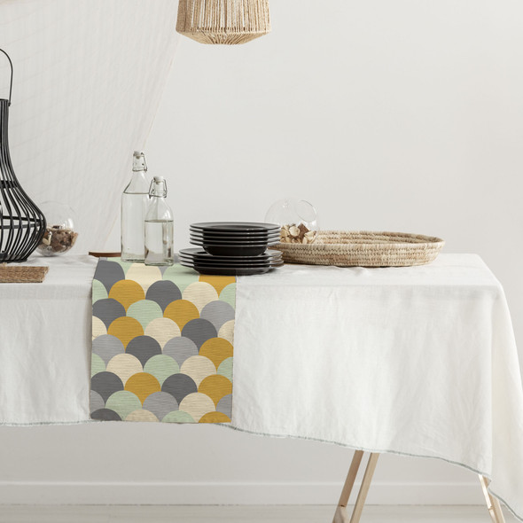 Waterproof Table Runner - Scandi Hills Mustard