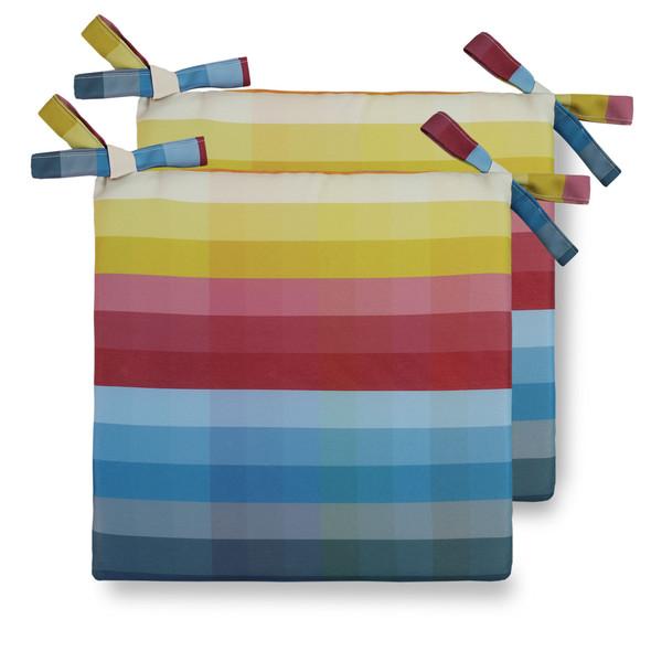 Water Resistant Garden Seat Pads - Pixel Stripes