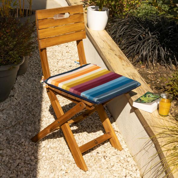 Set of 2 Water Resistant Garden Seat Pads - Pixel Stripes