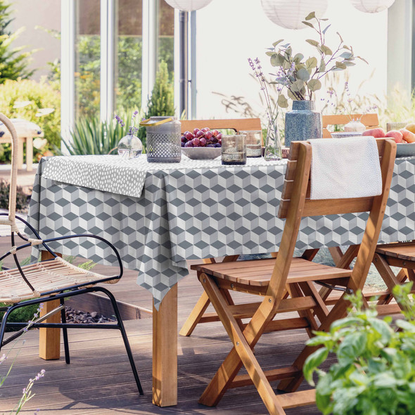 Outdoor Garden Tablecloth AVAILABLE IN 5 SIZES - Optional Centre Hole for Parasol - Cube Grey