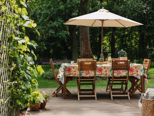 Waterproof Tablecloth WITH HOLE For Umbrella / Parasol - Midsummer Morning
