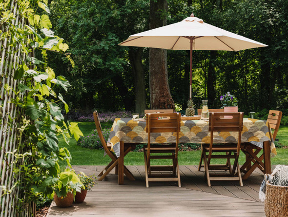 Waterproof Tablecloth WITH HOLE For Umbrella / Parasol - Scandi Hills Mustard